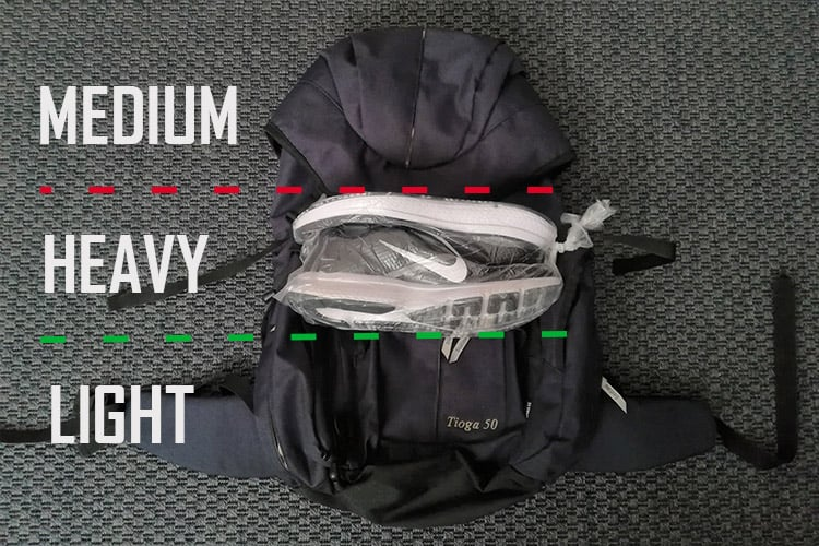 how to pack shoes in a backpack