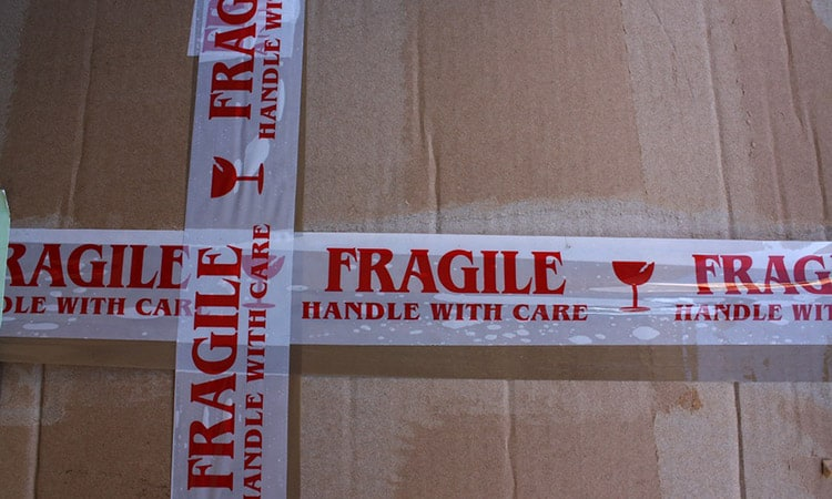 fragile stickers on a box