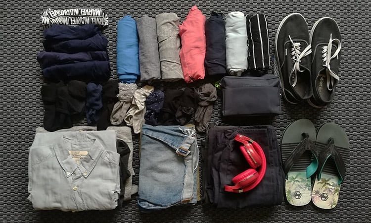 top view of Mens packing list for a two week vacation