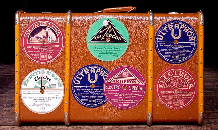 vintage suitcase with stickers