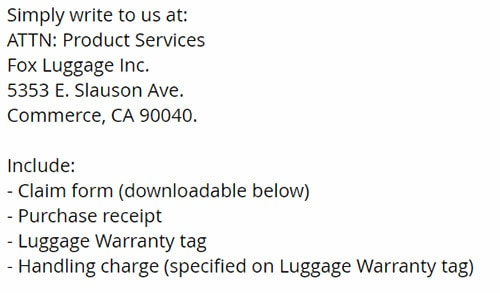 rockland luggage warranty terms screenshot from website