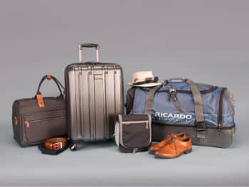 ricardo beverly hills luggage laid out on a gray backdrop