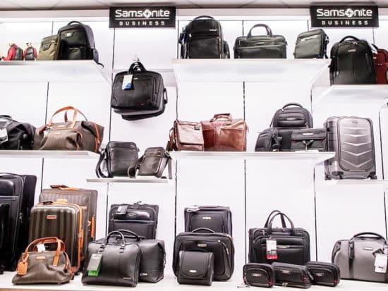 Samsonite bags displayed in a luggage store