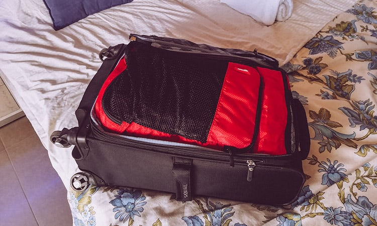 travelpro maxlite 5 carry-on interior with packing cubes