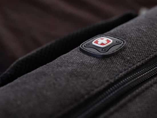 Swiss Gear gray backpack logo close-up
