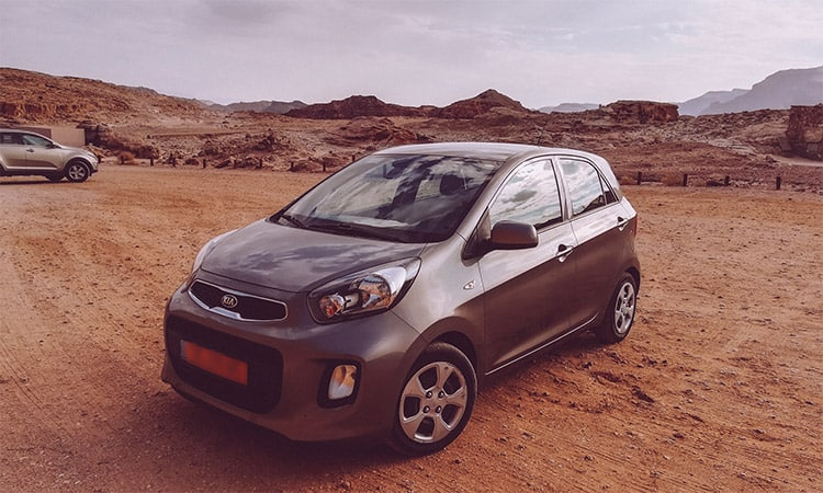 A gray kia rental in Israel