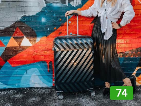 American tourister hardside on a colorful grafitti backdrop