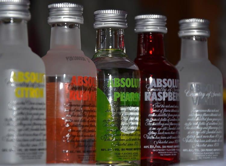absolut vodka in nips bottles in all flavors