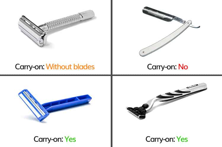different types of razors in hand luggage explained
