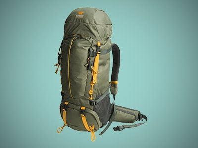 a light green rucksack with internal frame on a blue background