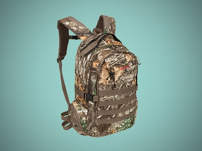 a camo hunting backpack on a blue background