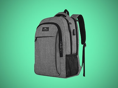 a gray laptop backpack on a teal background