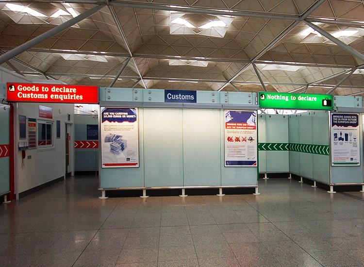 London airport customs