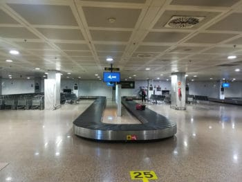 A luggage conveyor belt in the airport