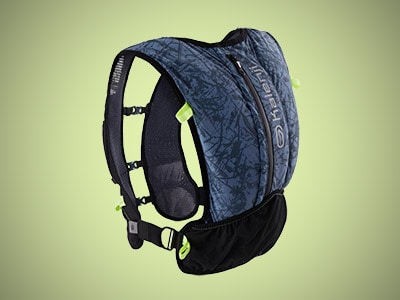 a running backpack on a gray background