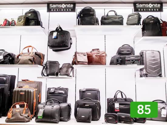 Samsonite bags displayed in a luggage store