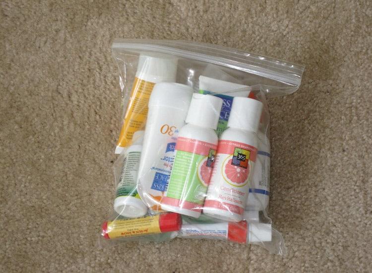 toiletries in a plastic quart-size bag