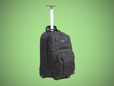 a wheeled backpack on a green background