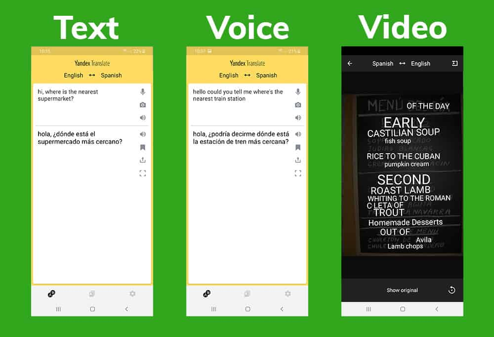 yandex translate app android screenshots